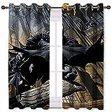 SSKJTC Cortinas para puerta corredera de cristal Batman se esconde en la ciudad, cortinas opacas para niños y niñas (140 x 100 cm)