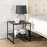 Zinus Dane Modern Studio Collection 20 Inch Square Side / End Table / Night Stand / Coffee Table, Rich black wood grain