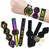 Mezoom Kratzkunst-Armband, 30 Stück, Regenbogen-Skizzenpapier mit 10 Holzstiften für Kindergeburtstag, Party, Basteln, Kindertag, Geschenke