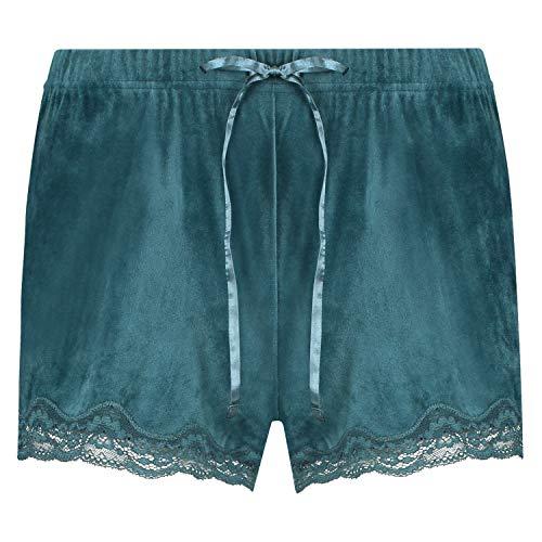 HUNKEMÖLLER Luxuriöse Damen-Shorts aus Velours, mit Jakobsmuschel-Optik und Spitze Blau XS