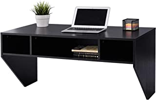 Giantex Wall Mounted Desk Floating Computer Desk W/ 3 Storage Shelves and Large Weight Capacity for Home, Office, Bedroom, TV Media Console Floating (Black)
