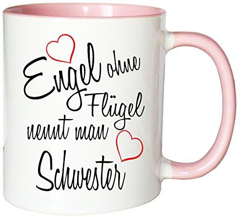 Mister Merchandise Kaffeebecher Tasse Engel ohne Flügel nennt Man Schwester Sister Familie Family Geburt Schwanger Baby Teetasse Becher Weiß-Rosa