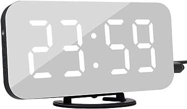デジタルLED目覚まし時計スヌーズ表示時間夜LEDデスクサービスデスク2 iPhone用充電器ポートAndrodモバイル目覚まし時計ミラークロック