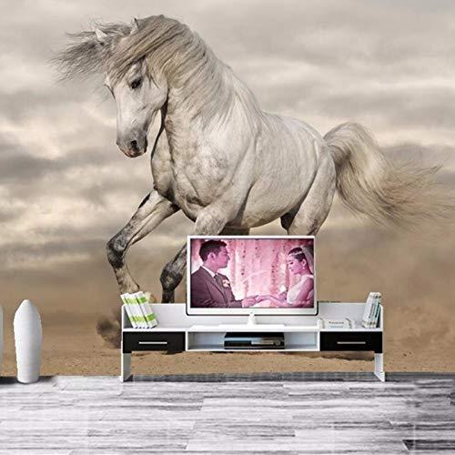 BHXIAOBAOZI behang fotobehang aan elke grootte aanpassen, 3D Wallpaper dier wit paard op de woestijn wooncultuur voor woonkamer sofa Tv achtergrond slaapkamer muur decoratie (Bh0426) 250cm(W)×160cm(H)