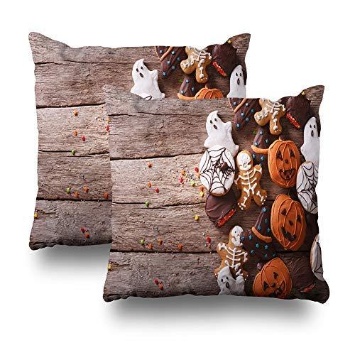 GFGKKGJFD Juego de 2 fundas de cojín para Halloween, horizontales de Halloween, para alimentos, dulces y truco, 18 x 18, para sofá, adolescentes, niñas, regalos