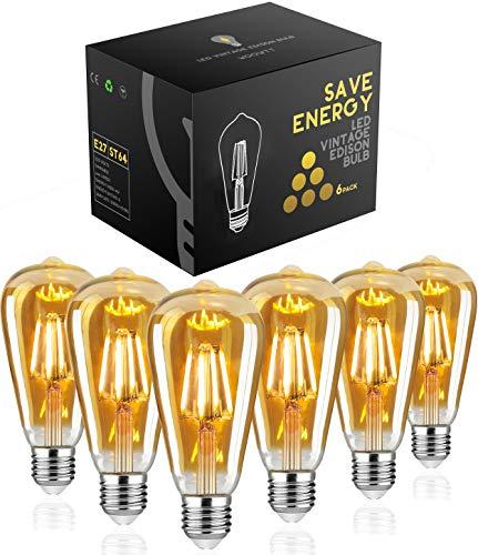 Edison Glühbirne E27,Woowtt Edison Vintage Glühbirne,4W LED Glühbirne,LED Filament Lampe Nostalgie,Antike Amber Warm Licht Retro Edison Birne,400 Lumen,ST64,220V,4W(40W Äquivalent)