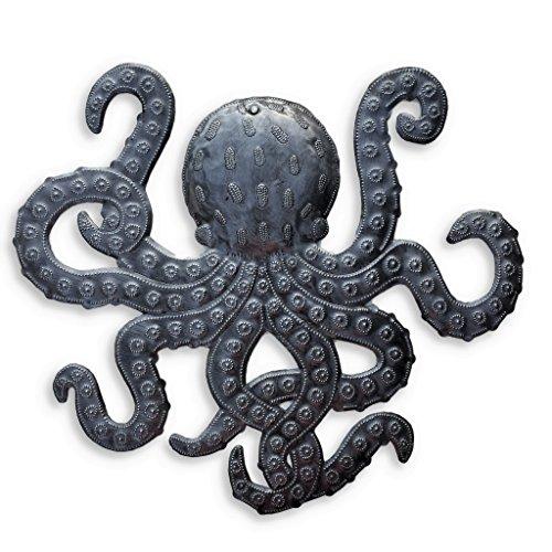 Octopus Metal Wall Art, Sea Life Ocean Decor, Beach Themed Artwork, Decorative Figurines 14 In. x 15 In.