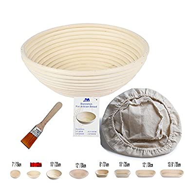Banneton Proofing Basket 8.5  Round Banneton Brotform for Bread and Dough[FREE BRUSH] Proofing Rising Rattan Bowl + FREE LINER(750g dough)