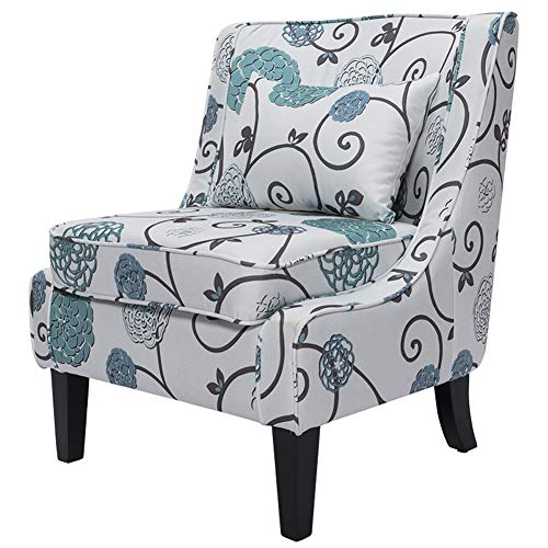 Warmiehomy Contemporary Armless Occasional Accent Chair Floral Fabric Upholstered Living Room Club Chair with Solid Wood Base and Back Cushion for Bedroom Living Room Hallway (Floral)
