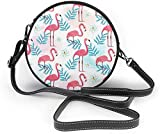 Bolso redondo mujer Flamingo Pattern in Watercolor Style Women Soft Leather Round Shoulder Bag Zipper Circle Purses Sling Bag