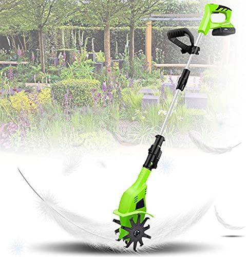WSVULLD Cultivador eléctrico con asa Ajustable, rotavador sin Cable de 2.7 kg, batería y Cargador Recargable de 20V 4000mAh, para el jardín, parcelas de Verduras, Amarillo (Color : Green)