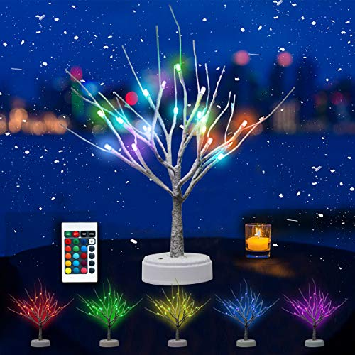 Oycbuzo Christmas 18 LED Color Changing Lighted Snow Tree Light-RGB with Remote Control, Light Up Christmas Tabletop Bonsai Tree Decorations, Holiday Decor Tree, Table Lamp for Room, Party, Wedding