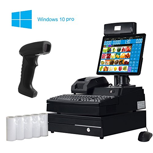ZHONGJI Système de caisse enregistreuse tout-en-un Pos - Comprend un PC double écran un système d'exploitation Windows10 Pro, une imprimante de reçus thermique