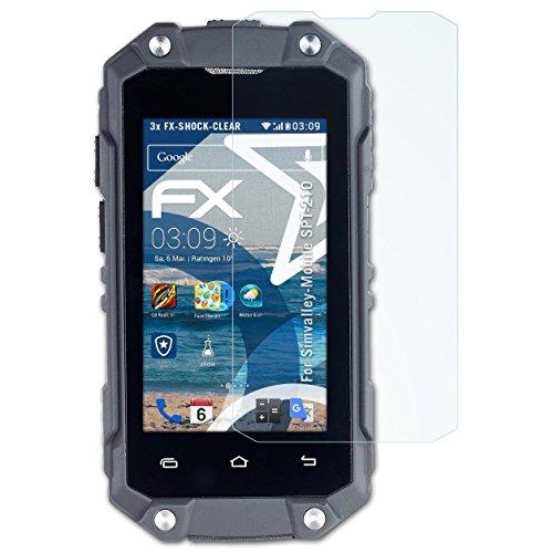 atFolix Schutzfolie kompatibel mit Simvalley-Mobile SPT-210 Panzerfolie, ultraklare & stoßdämpfende FX Folie (3X)