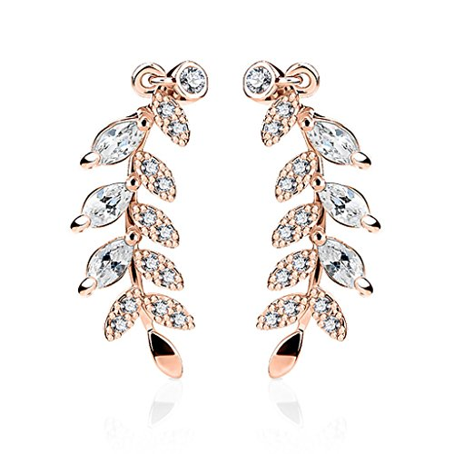 Ohrstecker Ohrklemme Ohrring Kristallblatt Zweig Crystal Leaf Ear Crawler Damen Autiga® rosègold