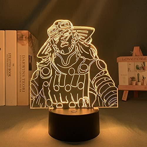 Luz de noche 3D para niños, anime JoJo Bizarre Adventure Gyro Zeppeli para decoración luz de cumpleaños para él JoJo luz LED Mangafor dormitorio Navidad regalo control remoto
