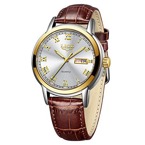 Reloj deportivo de cuarzo para hombre con números romanos, analógico, luminoso, con fecha, impermeable, 30 m, resistente al agua, relojes de cuero cómodos, color marrón