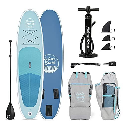 FabricBoard 10' Tabla de Paddle Surf Hinchable 305x77x15cm, Tecnología Fusion Doble Capa 9.98 kg (20% más Ligera), Accesorios Incluidos (Ocean Blue)