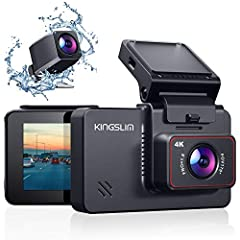 【UHD 4K+1080P & QHD 2.5K+1080P】-Kingslim D4 4K dual dash camera can simultaneously record videos in front 4K(2160p@25fps) and rear 1080P resolution, clearly capturing license plates and road signs. Ultra HD 4K resolution also can providing high-defin...