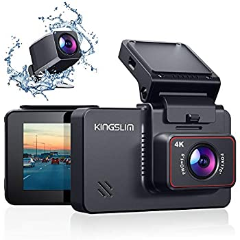 Kingslim D4 4K Dual Dash Cam with Built-in WiFi GPS Front 4K/2.5K Rear 1080P Dual Dash Camera for Cars  3  IPS Touchscreen 170° FOV Dashboard Camera with Sony Starvis Sensor Support 256GB Max