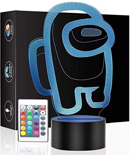 16 colores 3D Among Us luces de noche con mando a distancia y Smart Touch, atmósfera de lámpara de noche para niños, regalo de cumpleaños, decoración de dormitorio, amantes de los juegos