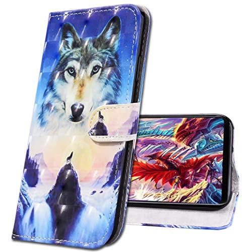 MRSTER iPhone XS MAX Funda con Tapa Cover Premium PU Leather Wallet Case Creativa 3D Diseño de Pintado Carcasa de Cuero Billetera Estuche para Apple iPhone XS MAX. CY Sunrise Wolf