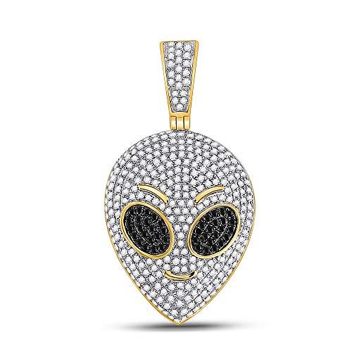 Diamond2Deal 10 Karat Gelbgold Herren Anhänger Alien Rund Schwarz Farbe Enhanced Diamant 1 Karat