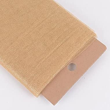 "AK TRADING 54"" Inch X 10 Yards Premium Glitter Tulle Fabric Bolt (Gold)"