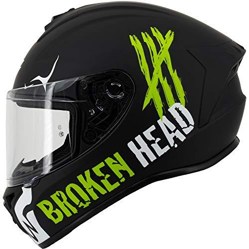 Broken Head Adrenalin Therapy 4X - Sportlicher Integralhelm - Motorrad-Helm - Schwarz-Weiß Matt (Ltd.) - Größe M (57-58 cm)