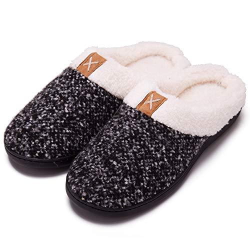 Xalutec Women's Cozy Memory Foam Slippers Fuzzy Wool-Like Plush Fleece Lined House Shoes with Anti-Skid Rubber Sole