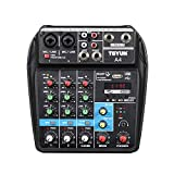 Professional Wireless 4 channel Audio Mixer TEYUN Portable Sound Mixing Console with USB Interface...