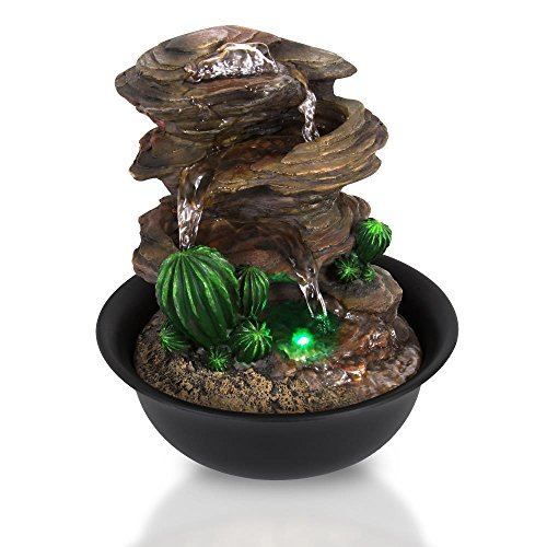 SereneLife 3-Tier Desktop Electric Water Fountain Decor w/LED - Indoor Outdoor Portable Tabletop Decorative Zen Meditation Waterfall Kit Includes Submersible Pump & 12V Power Adapter