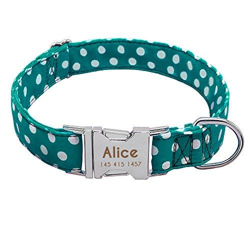 Didog - Collar de perro con grabado personalizable, nailon suave con hebilla de liberación rápida de acero inoxidable, collar de perro con placa de identificación, para perros pequeños y medianos