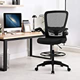Mesh Drafting Chair Tall Office Chair for Standing Desk Ergonomic Back Support Desk Chair Adjustable Height Task Chair with Foot Ring and Adjustable Flip Up Arms for Short People,Black