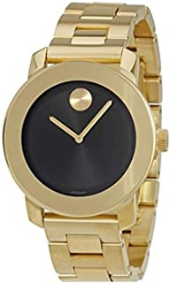 Bold Black Dial Gold-Tone Unisex Watch 3600397