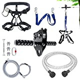 NTR 98FT Zip line Kit for Kids and Adults, Zip Lines for Backyard Up to 350lb With Adjustable Harness, Ziplines Brake, Zip line Trolley with Handle, Connection Lanyard,for Outdoor Playground Equipment