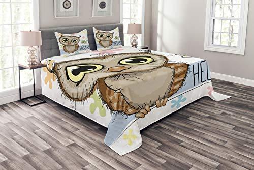 ABAKUHAUS Eulen Tagesdecke Set, Cartoon Schmetterling Hallo, Set mit Kissenbezügen Romantischer Stil, für Doppelbetten 220 x 220 cm, Multicolor