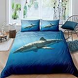 Loussiesd Set di biancheria da letto con stampa di squalo, per ragazze e ragazzi, con tema oceanico marino, copertura per piumone, decorazione per la stanza, colore: blu marino, 3 pezzi