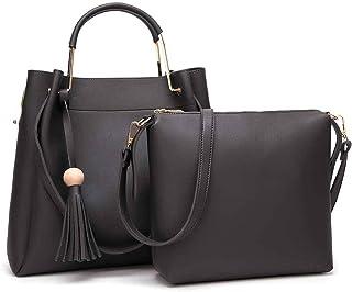 d91b2b2b94f8 Femaroly Crossbody Shoulder Bag Tassel Handbag Satchel Purse Tote 2 Pcs Set  for Women