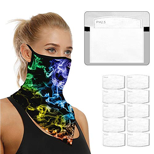 Face Scarf Bandanas Ear Loops for Men Women Balaclava Neck Gaiters Outdoor Dustproof Cover with Safety Carbon Filters 021