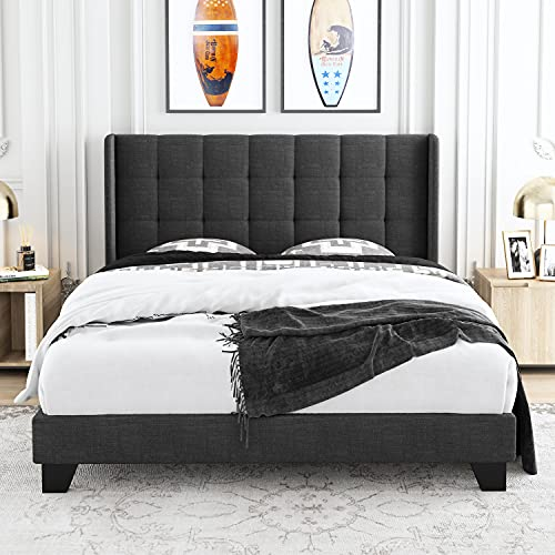 Allewie Queen Size Platform Bed Frame with Wingback / Fabric Upholstered Square Stitched Headboard and Wooden Slats / Mattress Foundation / Box Spring Optional / Easy Assembly, Grey