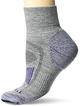 Merrell Women s Merino Wool Cushioned Hiker Quarter Socks 1 Pair Purple/Grey Heather S/M