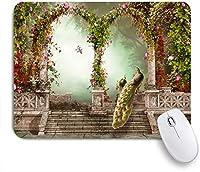 ECOMAOMI 可愛いマウスパッド ピーコックファンタジーガーデンアーチ型ドアカラフルな花 滑り止めゴムバッキングマウスパッドノートブックコンピュータマウスマット