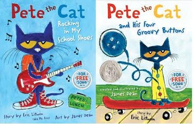 Pete the Cat 2 Book Set Collection Pete The Cat and His Four Groovy Button ; Pete The Cat Rocking in My School Shoes