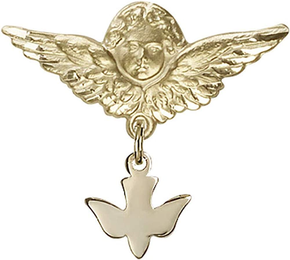 Baby Badge 14kt Gold Raleigh Regular store Mall badge Charm with Holy Spirit