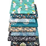 8pcs 20 x 20 inches (50 x 50 cm) Print Quilting Fabric Cotton Fat Quarters Fabric Bundles for DIY Sewing Crafting Patchwork (Parrot)