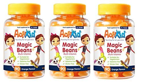 3X ActiKid Magic Beans Multi-Vitamin 90x Orange Flavour, Gelatine Free