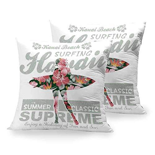Funda de Almohada Cuadrada Hawaiian, Tropical Hawaii Hibiscus Surfing Girl Silhouette Tabla de Surf Retro Themed Artprint, Coral Green para Cama Sofá Banco