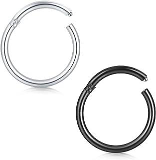 QWALIT Septum Clicker Nose Rings Hoop Hinged Segment Helix Daith Tragus Sleeper Cartilage Earrings Stainless Steel Lip Pie...
