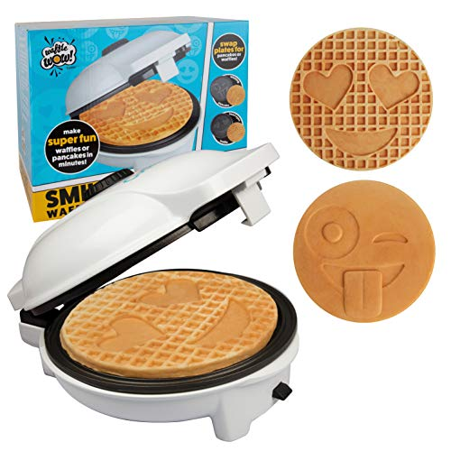 Emoji Waffler & Pancake Maker w 2 Interchangeable Plates for Pancakes...